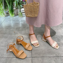 Sandals 35,36,37,38,39,40 Off white, apricot PU The south is in the south Barefoot Thick heel Middle heel (3-5cm) Summer 2021 Trochanter Korean version Solid color Adhesive shoes Youth (18-40 years old) Composite bottom daily Ankle strap Thick heel, waterproof platform, belt buckle Low Gang Hollow PU