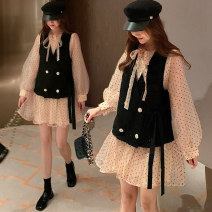 Dress Other / other Apricot dress, apricot dress + black vest 50. XL, XXL, XXXL, XXL Korean version Long sleeves Medium length spring Crew neck Solid color