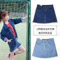 skirt Summer of 2018 S,M,L,XL,2XL Light blue, dark blue Short skirt Versatile High waist A-line skirt Solid color Type A 18-24 years old HF501 71% (inclusive) - 80% (inclusive) Denim cotton pocket 201g / m ^ 2 (including) - 250G / m ^ 2 (including)