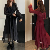 Dress Autumn of 2019 claret Average size Mid length dress singleton  Long sleeves commute V-neck High waist Socket Lotus leaf sleeve Others 18-24 years old Other / other Korean version 31% (inclusive) - 50% (inclusive) Chiffon