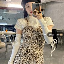 Fashion suit Spring 2021 S,M,L Leopard suspender skirt, white T-shirt 18-25 years old Other / other 81% (inclusive) - 90% (inclusive) cotton
