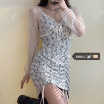 Dress Summer 2020 Picture color M, L Short skirt singleton  Long sleeves V-neck Solid color Type A Pleating Lace