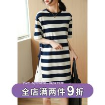 Dress Spring 2021 Blue and white stripes M, L longuette singleton  Short sleeve commute Crew neck other other Others Type H QA12198 51% (inclusive) - 70% (inclusive) cotton