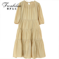 Dress Summer 2021 White, black, khaki S,M,L Mid length dress Two piece set Short sleeve commute Crew neck Loose waist Solid color Socket A-line skirt puff sleeve 25-29 years old Type A Fronbelun / frorbilun Frenulum MM041005 51% (inclusive) - 70% (inclusive) polyester fiber