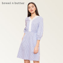 Dress Spring 2021 Ash blue 160XS 165S 170M 175L Middle-skirt singleton  three quarter sleeve Sweet V-neck Elastic waist stripe Socket A-line skirt bishop sleeve Others 25-29 years old Type A bread n butter Lace 1SB0BNBDRSW116117 More than 95% cotton Cotton 100% Ruili