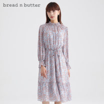 Dress Spring 2021 Purple blue 160XS 165S 170M 175L Mid length dress Long sleeves Sweet stand collar High waist Socket 25-29 years old bread n butter More than 95% polyester fiber Polyester 100% Ruili Same model in shopping mall (sold online and offline)