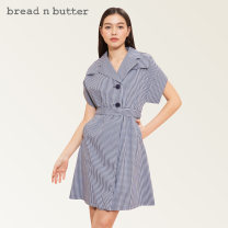 Dress Spring 2021 Deep royal blue 160XS 165S 170M 175L Short skirt singleton  Short sleeve Sweet tailored collar Loose waist lattice Single row two buttons A-line skirt Sleeve Others 25-29 years old Type A bread n butter Epaulet pocket button 1SB0BNBDRSW068136 71% (inclusive) - 80% (inclusive) cotton
