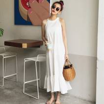 Dress Summer 2020 White, black S,M,L longuette singleton  Sleeveless commute Crew neck Loose waist Solid color Socket Ruffle Skirt Hanging neck style Type A Other / other lady Lotus leaf edge 71% (inclusive) - 80% (inclusive) other cotton