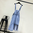 Dress Spring 2021 blue S,M,L,XL Mid length dress singleton  Sleeveless commute other High waist Solid color Socket Ruffle Skirt routine straps 18-24 years old Type H Korean version Button More than 95% Denim other