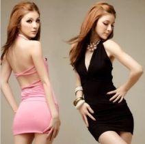 Dress Summer 2015 Black, pink, rose L [110-125 Jin], m [80-110 Jin] Short skirt street V-neck Hanging neck style 18-24 years old Rock and roll
