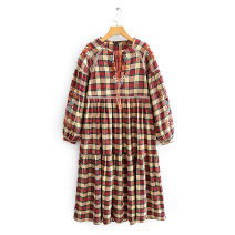 Dress Spring 2020 Red and yellow check XS,S,M,L Mid length dress Long sleeves High waist 51% (inclusive) - 70% (inclusive)