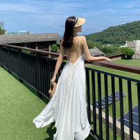 Dress Summer 2020 white S,M,L,XL longuette singleton  Sweet V-neck High waist Solid color Socket Irregular skirt camisole Backless, asymmetrical, strapping BH58HBGOP 71% (inclusive) - 80% (inclusive) brocade polyester fiber