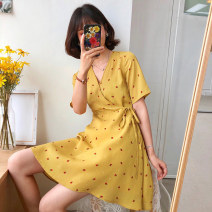 Dress Summer 2020 M L XL 2XL 3XL 4XL 5XL S Short skirt singleton  Short sleeve Sweet V-neck middle-waisted Dot Socket Princess Dress puff sleeve Others 18-24 years old Type A Yifengweier Frenulum More than 95% Chiffon polyester fiber Other polyester 95% 5% solar system Pure e-commerce (online only)