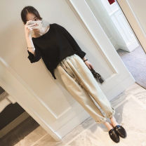 Women's large Spring 2020 Black + apricot [Korean girls wear sweet, but salt sweet. What's the fashion this year? trousers Two piece set Sweet easy moderate Socket Long sleeves Solid flower Crew neck routine polyester Three dimensional cutting Flying sleeve C8030 Yifengweier 18-24 years old pocket