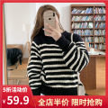 Women's large Spring 2021 Black JH S M L XL 2XL 3XL 4XL sweater singleton  commute easy moderate Socket Long sleeves stripe Korean version Crew neck routine routine 1-21C8801H-XX Yifengweier 18-24 years old Polyacrylonitrile fiber (acrylic fiber) 100% Pure e-commerce (online only)