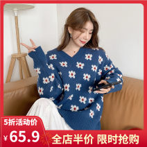 Women's large Spring 2021 Navy JH S M L XL 2XL 3XL 4XL sweater singleton  commute easy moderate Socket Long sleeves Plants and flowers Korean version V-neck routine routine 1-21CS0020ZQ-XX- Yifengweier 18-24 years old Pure e-commerce (online only)