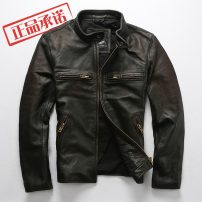 leather clothing BOMikeRonny Fashion City S,M,L,XL,2XL,3XL have cash less than that is registered in the accounts Leather clothes stand collar Slim fit zipper spring leisure time youth top layer leather American leisure ZG-707 Cloth hem Side seam pocket Zipper decoration No iron treatment