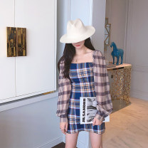 Dress Summer 2021 Long sleeve dress, short sleeve dress S,M,L Mid length dress singleton  Long sleeves commute square neck High waist lattice zipper other puff sleeve Others Type A X20QX034 51% (inclusive) - 70% (inclusive) other other