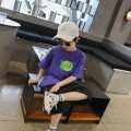 T-shirt White spot, white pre-sale, purple spot, purple pre-sale Fan mili Tag 7 / 110cm, tag 9 / 120cm (model photo code), tag 11 / 130cm, tag 13 / 140cm, tag 15 / 150cm, tag 17 / 160cm, tag 19 / 170cm male summer Short sleeve Crew neck leisure time There are models in the real shooting nothing
