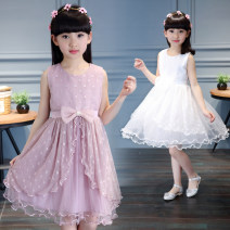 Dress Summer 2021 White, lotus root 110cm [material fidelity], 120cm [free freight insurance], 130cm [order first delivery], 140cm [shop front page red envelope], 150cm [pay attention to shop red envelope], 160cm [145-153cm or so] Mid length dress singleton  Sleeveless Sweet Crew neck Loose waist Dot