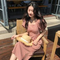 Dress Summer 2020 Red Plaid Dress S,M,L,XL Mid length dress singleton  Short sleeve commute square neck lattice 18-24 years old Type H Other / other Korean version