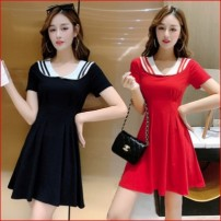 Dress Summer 2020 Black, red L,M,S,XL Short skirt singleton  Short sleeve square neck middle-waisted Socket Big swing routine 18-24 years old