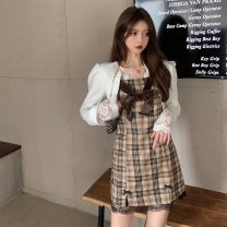 Dress Autumn 2020 Suit, lace shirt, suspender skirt S. M, l, average size Short skirt singleton  Long sleeves commute other High waist lattice A-line skirt routine Others 18-24 years old Type A Korean version other