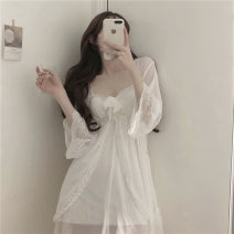 Dress Spring 2021 Chiffon jacket, suspender skirt Average size Short skirt Two piece set Sleeveless commute other High waist Solid color Socket A-line skirt camisole 18-24 years old Type A Korean version 81% (inclusive) - 90% (inclusive) other other