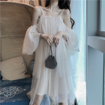 Dress Summer 2021 Picture color Average size Mid length dress singleton  Short sleeve commute One word collar High waist Solid color Socket Princess Dress routine Others 18-24 years old Type A Korean version Nail bead 31% (inclusive) - 50% (inclusive) organza  other