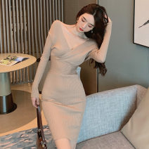 Dress Spring 2021 Khaki, lake blue, black Average size Middle-skirt singleton  Long sleeves commute V-neck High waist Solid color Socket One pace skirt routine Others 18-24 years old Type H Korean version Splicing