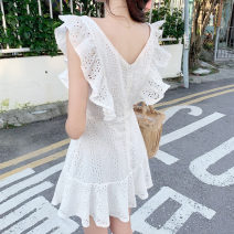 Dress Summer 2021 white S,M,L Short skirt singleton  Sleeveless commute V-neck High waist Solid color zipper Ruffle Skirt Flying sleeve Others 18-24 years old Type X Korean version Lotus leaf edge 31% (inclusive) - 50% (inclusive) cotton