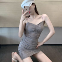 Dress Summer 2021 grey Average size Short skirt singleton  Sleeveless commute V-neck High waist Solid color Socket One pace skirt camisole 18-24 years old Type H Korean version backless 30% and below other other