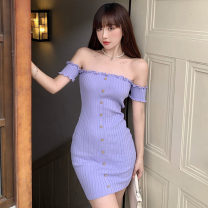 Dress Summer 2021 Purple, black Average size Short skirt singleton  Short sleeve commute One word collar middle-waisted Solid color Socket A-line skirt other Others 18-24 years old T-type Korean version Auricularia auricula, button, open back More than 95% knitting other