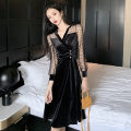 Dress Winter 2020 Black sleeves, apricot sleeves S,M,L Mid length dress singleton  Long sleeves commute V-neck High waist Solid color A-line skirt bishop sleeve Others 18-24 years old Type A Korean version Stitching, mesh, buttons