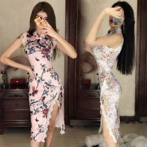cheongsam Summer 2020 S,M,L Sleeveless long cheongsam High slit Oblique lapel Decor 18-25 years old Piping Other / other 71% (inclusive) - 80% (inclusive)