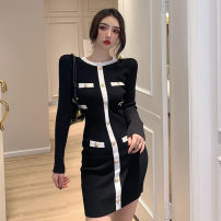 Dress Autumn 2020 Khaki, black S,M,L Short skirt singleton  Long sleeves commute Crew neck High waist Solid color Socket One pace skirt routine Others 18-24 years old Type H Korean version Button, button 51% (inclusive) - 70% (inclusive) knitting polyester fiber