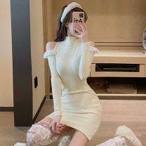 Dress Spring 2021 Apricot Average size Short skirt singleton  Long sleeves commute High collar High waist Solid color Socket One pace skirt routine Others 18-24 years old Type H Korean version Splicing