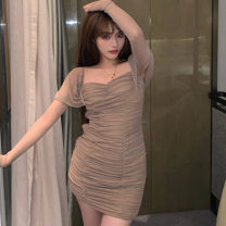Dress Spring 2021 Cinnamon S,M,L Short skirt singleton  Long sleeves commute square neck High waist Solid color Socket One pace skirt puff sleeve Others 18-24 years old Type H Korean version Splicing, mesh