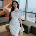 Dress Summer 2021 White, black S, M Short skirt singleton  Short sleeve commute stand collar High waist Solid color zipper A-line skirt bishop sleeve Others 18-24 years old T-type Korean version Hollowed out, stitched and beaded