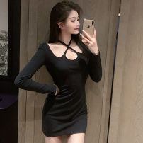 Dress Spring 2021 Pink, black S,M,L Short skirt singleton  Long sleeves commute other High waist Solid color Socket One pace skirt routine Hanging neck style 18-24 years old Type H Korean version Frenulum 91% (inclusive) - 95% (inclusive) brocade cotton