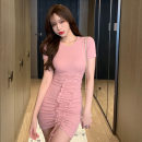 Dress Summer 2021 Grey, pink, black Average size Short skirt singleton  Short sleeve commute Crew neck middle-waisted Solid color Socket Irregular skirt routine Others 18-24 years old T-type Korean version Pleats, bandages 31% (inclusive) - 50% (inclusive) other cotton