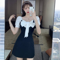 Dress Summer 2021 Picture color S,M,L Short skirt singleton  Short sleeve commute square neck middle-waisted Solid color zipper A-line skirt puff sleeve Others 18-24 years old T-type lady Bow, open back, zipper 31% (inclusive) - 50% (inclusive) other polyester fiber