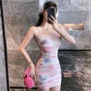 Dress Summer 2021 Decor S,M,L Short skirt singleton  Sleeveless commute One word collar High waist Decor zipper One pace skirt camisole 18-24 years old Type H Korean version zipper 91% (inclusive) - 95% (inclusive) other other