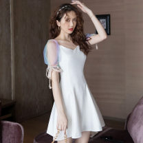 Dress Summer 2021 white S,M,L,XL Middle-skirt singleton  Short sleeve commute V-neck High waist Solid color zipper A-line skirt puff sleeve Others 18-24 years old Type A Other / other Korean version Lace up 31% (inclusive) - 50% (inclusive) other other
