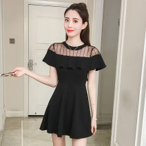 Dress Summer 2020 black S,M,L,XL,2XL Middle-skirt singleton  Short sleeve commute Crew neck High waist Solid color Socket A-line skirt other Others 18-24 years old Type A lady Ruffles, stitching brocade