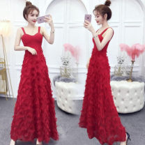 Dress Summer of 2019 Dark blue, red, black S,M,L longuette singleton  Sleeveless commute V-neck High waist Solid color zipper Big swing Others 18-24 years old Type A Other / other Open back, stitching, zipper 81% (inclusive) - 90% (inclusive) other