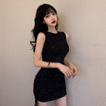 Dress Spring 2021 black S,M,L,XL Short skirt Two piece set Sleeveless commute Crew neck High waist Solid color Socket One pace skirt routine Others 18-24 years old Type H Korean version Fold, tuck 31% (inclusive) - 50% (inclusive) knitting polyester fiber