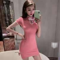 Dress Spring 2021 gules S,M,L Short skirt singleton  Short sleeve commute stand collar High waist Solid color Socket One pace skirt routine Others 18-24 years old T-type Korean version zipper