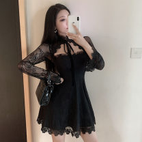 Dress Spring 2021 black S,M,L Short skirt singleton  Long sleeves commute other High waist Solid color zipper A-line skirt pagoda sleeve Others 18-24 years old Type A Korean version Embroidery, stitching, lace, backless