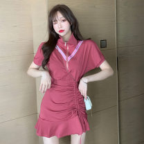 Dress Summer 2020 Red, black S, M Short skirt singleton  Short sleeve Sweet square neck middle-waisted Solid color Socket Irregular skirt routine Others 18-24 years old T-type Stitching, asymmetry, zipper 31% (inclusive) - 50% (inclusive) other cotton solar system